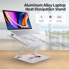 מתכוונן אלומיניום סגסוגת מעמד מחשב נייד עם קירור מאוורר מתקפל החלקה בעל מחשב נייד תואם עם 10 17.3 אינץ מחשב נייד
