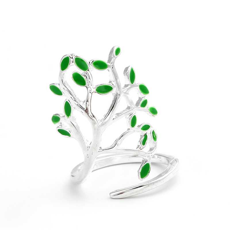 New Arrival Silver เครื่องประดับเคลือบรูปต้นไม้เปิดแหวน Cool ผู้หญิงแหวนหมั้นงานแต่งงานอุปกรณ์เสริม