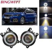 2x High power H11 LED Fog Lamps Angel Eye light with Glass len 12V For Peugeot 308 2013 2014 2015 2016 2017 2018