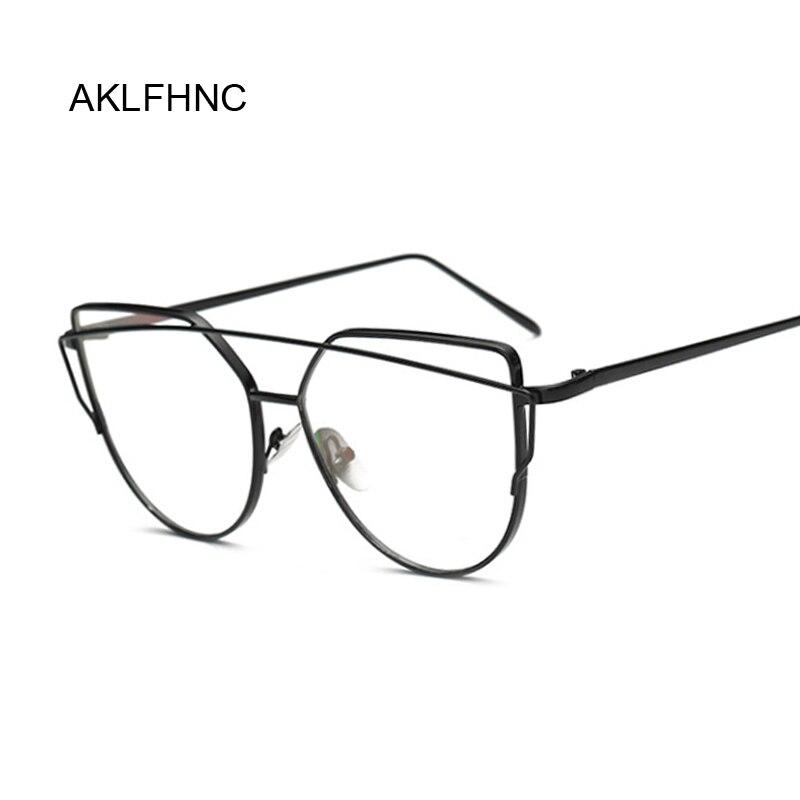 Lady Cat Eye Glasses Frames For Women Sexy Oversized Metal Frame Brand Designer Optical EyeGlasses Fashion Transparent Eyewear