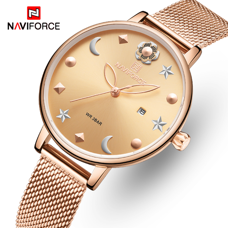 New NAVIFORCE Women Watches Top Luxury Brand Lady Fashion Casual Stainless Steel Mesh Wristwatch Gift For Girls Relogio Feminino
