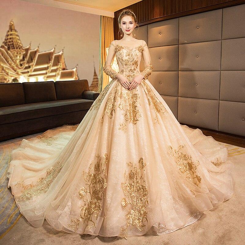 Gold Hochzeit Kleid O-ansatz Blumen Druck Stickerei Volle Sleeves Einfache Elegante Backless Neue Spitze uo Lange Frauen Braut Kleider B013