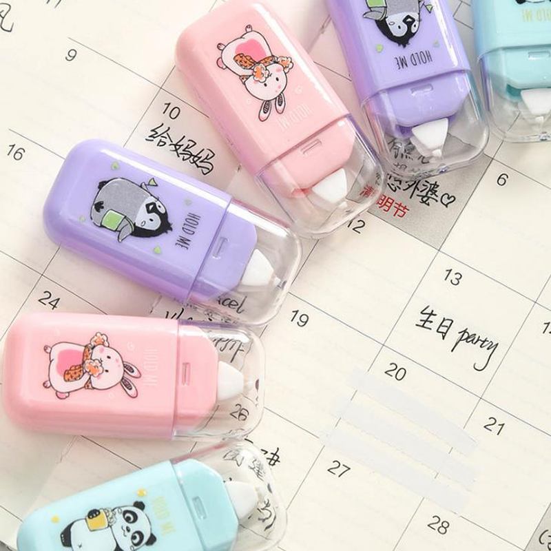 1 Pcs Cartoon 6m Animals Panda Penguin Rabbit Decorative Plastic Correction Tapes Corrector Tools For School Office Stationery
