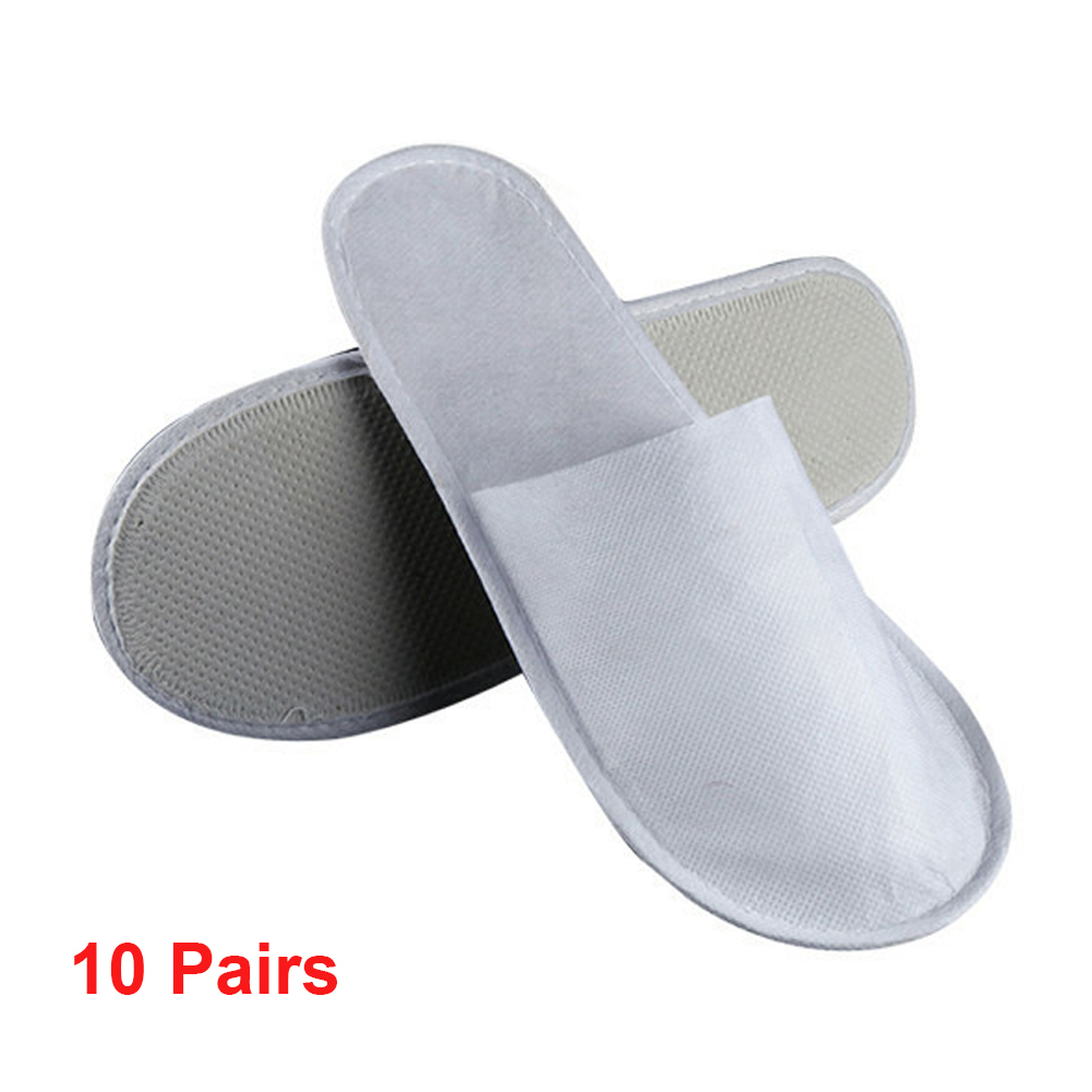 New 10 Pairs Disposable Slipper Plush Cardboard Anti Slip Home Hotel Use Slippers Party Sanitary Spa Pedicure Women Men Shoes