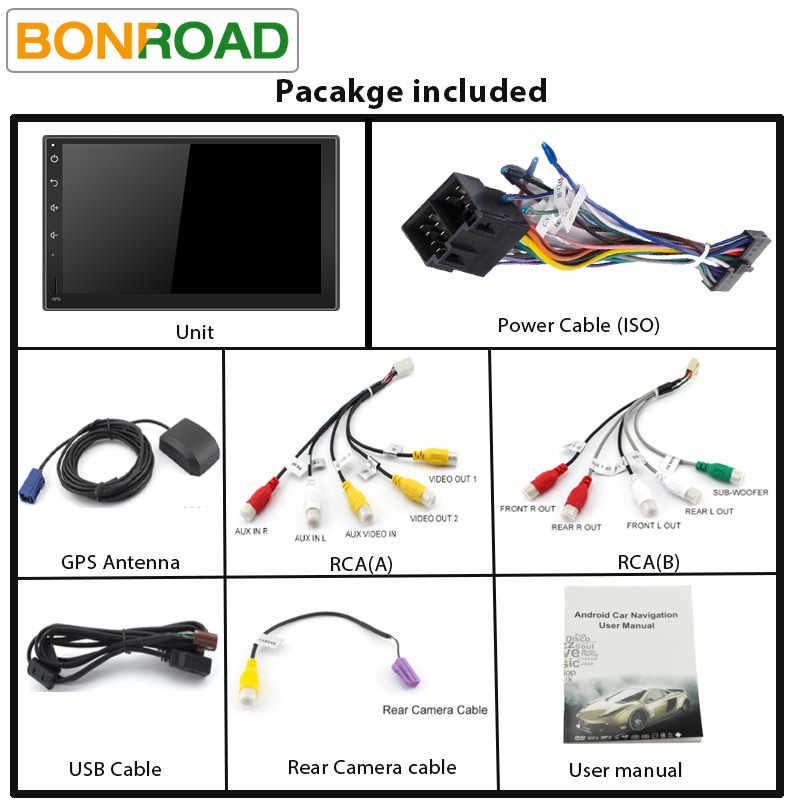 """Bonroad 7 """"2 Din Android 9.0 araba multimedya oynatıcı GPS navigasyon için Nissan Kia için Hyundai için radyo ile bluetooth (yok DVD)"""
