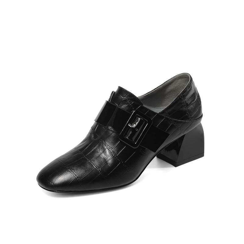 New Arrival Casual Shoes Woman Print Genuine Leather Square Toe Women Pumps Spring autumn Shallow Buckle High Heels