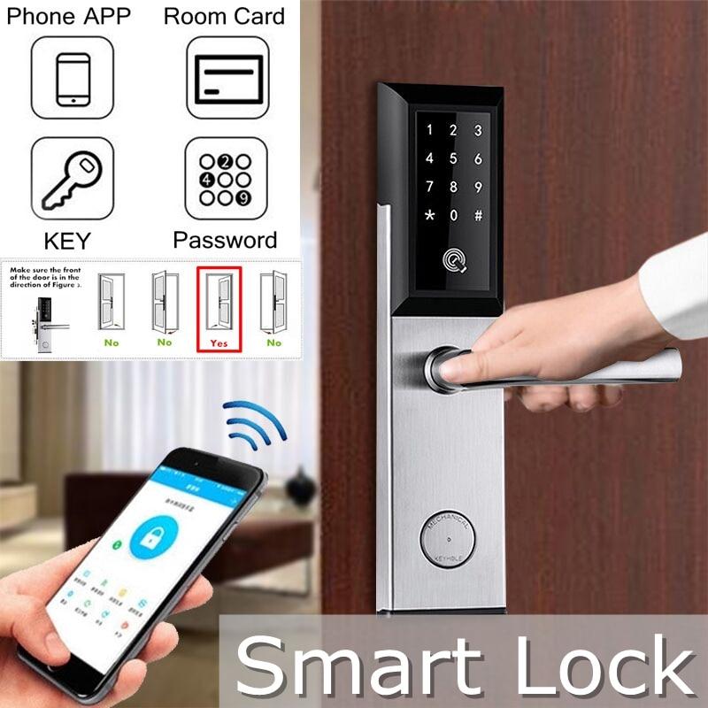 Verrouillage bluetooth App électronique numérique serrure de porte Wifi contrôle tactile clavier Code RFID carte sans clé entrée intelligente serrures USB
