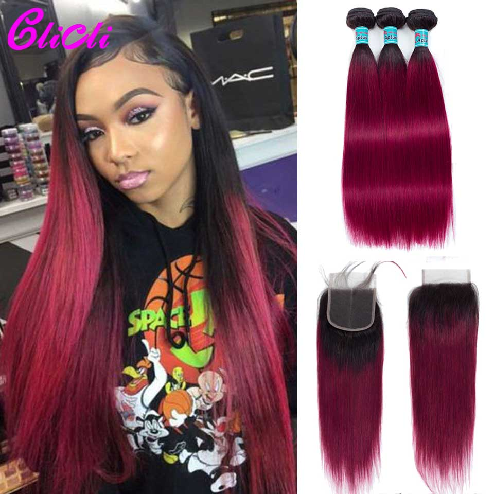 Mongolian Hair Bundles With Closure 1b Burgundy Ombre Straight Remy Human Hair Weave Bundles With 4x4 Lace Closure Preplucked