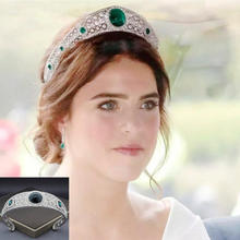 Corona de ópalo de diamante de imitación real Vintage verde tocado de novia princesa diadema de cristal Tiaras accesorios para el cabello de la boda joyería