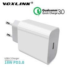 VOXLINK-cargador USB tipo c QC3.0, 18W, PD, USB-C de pared rápida/de viaje para iPhone x, xs, xr, 8, Xiaomi, Samsung, Huawei