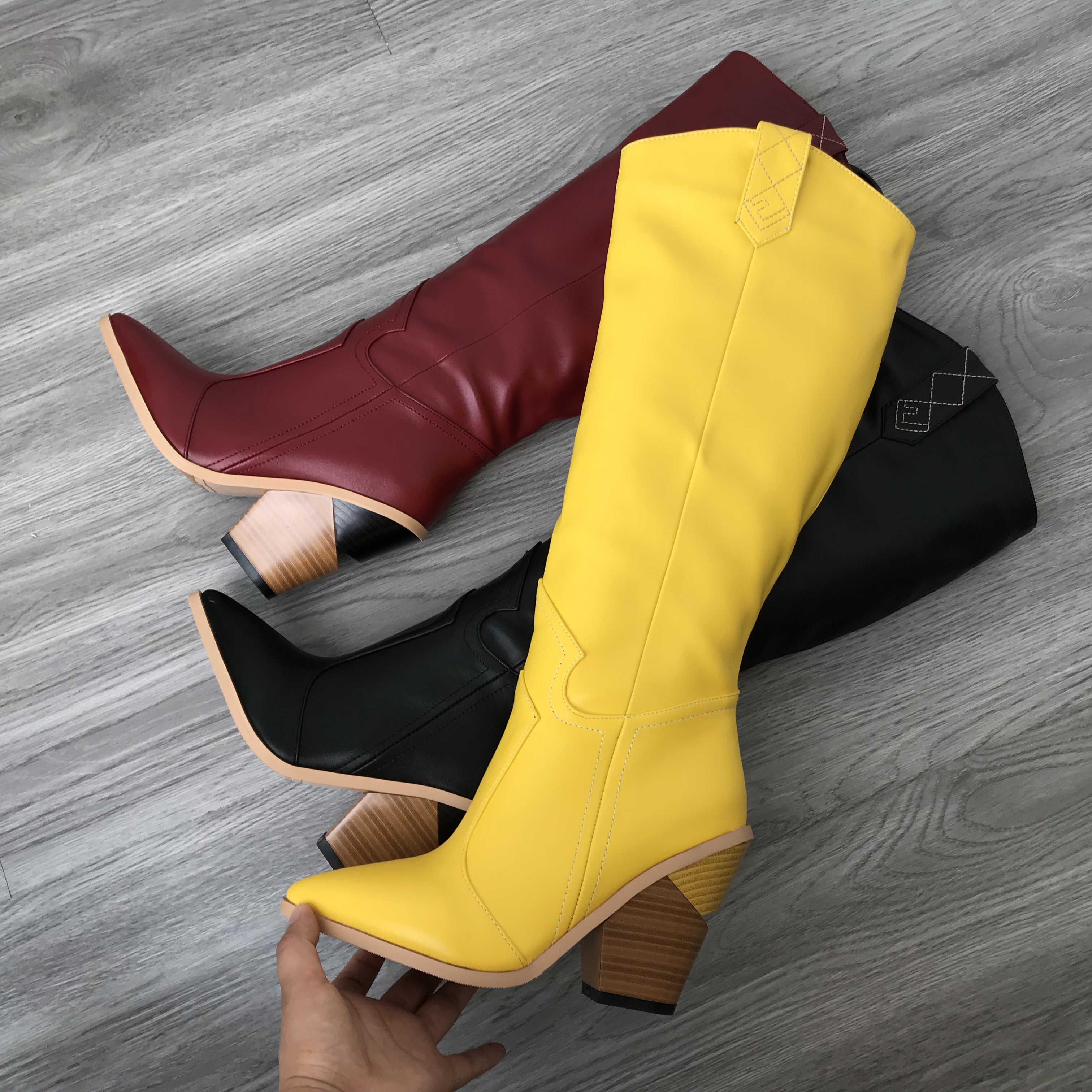 Sarı pembe yılan baskı kovboy çizmeleri kadınlar için kama topuklu kış batı uzun çizmeler ayakkabı kadın 2019 suni deri diz çizmeler