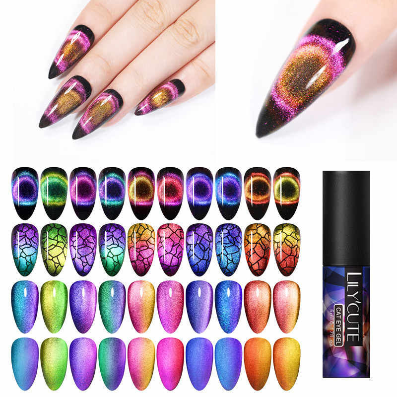Lilycute 9D Cat Eye Chameleon Magnetic Nail Gel Polish Cat Eye Rendam Off Payet Sinar UV Gel Nail Art Gel Varnish