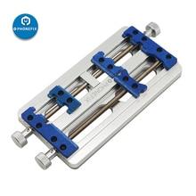 Phonefix alta temperatura duplo eixo pcb placa titular fixação da liga de alumínio base fixa para placa de solda titular reparo