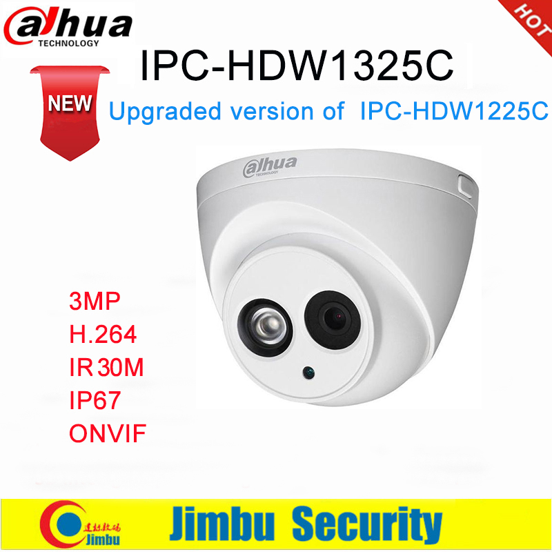 Dahua IP Camera 3MP IPC-HDW1325C H.264 IP67  CCTV Camera IR 30M Surveillance Network Dome Camera ONVIF