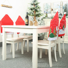 1 PCS Christmas Decoration Santa Claus Red Hat Chair Back Cover for Home Party Holiday Christmas Dinner Table Decor(China)