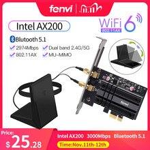 Sem fio 3000mbps pcie adaptador de banda dupla intel ax200 wi fi 6 bluetooth 5.1 placa de rede wi fi 802.11ac/ax 2.4g 5g para computador de mesa
