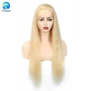 TTHAIRPre-arrancado brasileño del pelo recto del pelo humano 613 rubia peluca con malla frontal 13x4 rubia frente de encaje pelucas de cabello humano para las mujeres negras