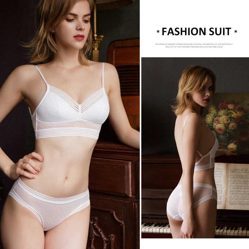 Nouvelle mode femmes ensemble de sous-vêtements dentelle Sexy Dot maille Push-up soutien-gorge et culotte ensembles confort brassière français coton ensemble de Lingerie