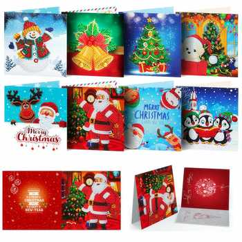 HUACAN 5D DIY Diamond Painting Christmas Cards New Arrival Embroidery Mosaic Art Kits Santa Claus Greeting Postcards - discount item  40% OFF Arts,Crafts & Sewing