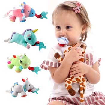 Duża lalka Baby Boy Girl Dummy klips z łańcuszkiem do smoczka pluszowe zabawki zwierzęta smoczek sutki Holder (nie obejmuje smoczka) tanie i dobre opinie Silica gel CN (pochodzenie) 5-8 miesięcy Zwierząt AB0012 1pcs Jednokrotnie załadowane Bez lateksu Wolne od nitrozoaminy