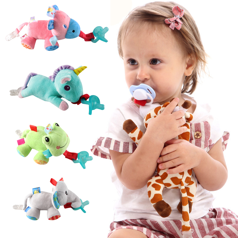 Infant Pacifier Holder Babys Soothies Dummy Pacifier with Cuddly Plush Animal TH
