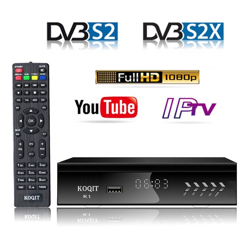 KOQIT DVB-S2 Digital Satellite Receiver Satellite decoder Tuner DVB S2 Receptor Wifi Youtube m3u IPTV Biss vu USB Video Capture