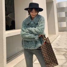 PTSLAN Women's Genuine Wool Suede Coat Real Fur Coat Jacket