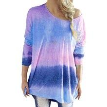Rainbow Gradient Print T-Shirts Women Casual V-Neck Long Sleeve Tops Autumn Fashion  Loose Streetwear T shirt Female Clothing