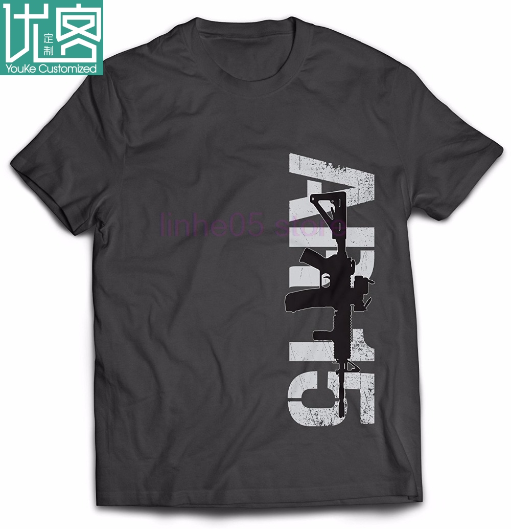 New Brand T <font><b>Shirt</b></font> Men Tops Tees Top <font><b>Ar</b></font> 15 Silhouette 2nd Amendment Gun Rights men's T <font><b>Shirts</b></font> Male Homme image