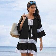 Cotton Black Beach Cover Up Sarong Embroidery Pareos De Playa Mujer Beachwear Dress Bikini Tunic