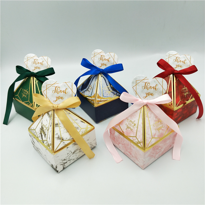 Gift Box Wedding Supplies Party Candy Box Baby Shower Paper Chocolate Boxes New Prismatic Creative Bronzing Packaging Boxes-4