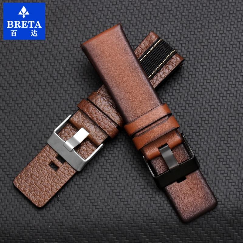 Shenmeirui for Diesel watch 22mm 24mm 26mm 28mm 30mm black brown leather strap for dz4323 dz1657 dz1405 dz4323 men's watch belt