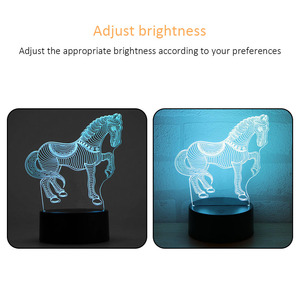 Image 5 - 1pc Lamp Bases For 3D LED Night Light Replacement 7 Color Light Bases Table Decor Lamp Holder Assembled Base USB Cable Touch