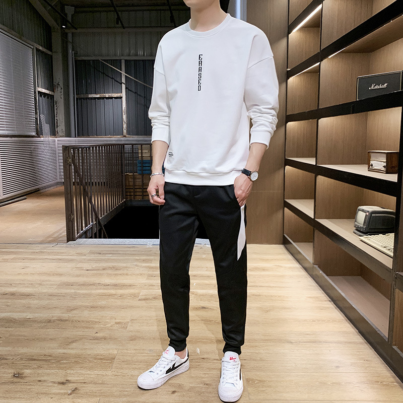 2019 Autumn And Winter New Style MEN'S Hoodie Leisure Sports Suit Korean-style Round Neck Sweater Casual Pants MEN'S Top