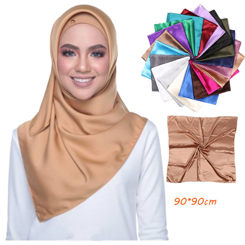 2019 New Malaysia Hijab Silk Square Scarf For Women Solid Color Bandana Female Foulard Muslim Hijab Scarf Islamic Headscarf