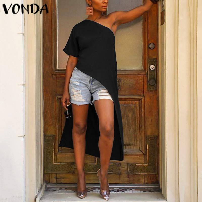 VONDA Party Tops Women One Shoulder Party Long Blouse 2020 Summer Beach Tunic Asymmetric Shirts Casual Blusas Plus Size S-5XL