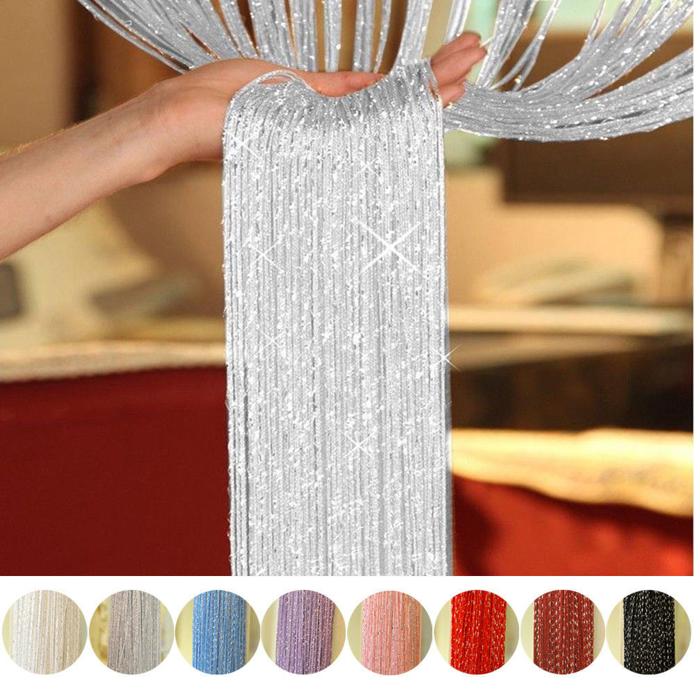 1*2 M Glitter String Door Curtain Beads Room Dividers Beaded Fringe Window Panel