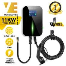 EV Ladegerät Elektrische Fahrzeug Ladestation EVSE Wallbox mit Typ 2 Cable16A 3Phase IEC 62196-2 für Audi mercedes-Benz, smart