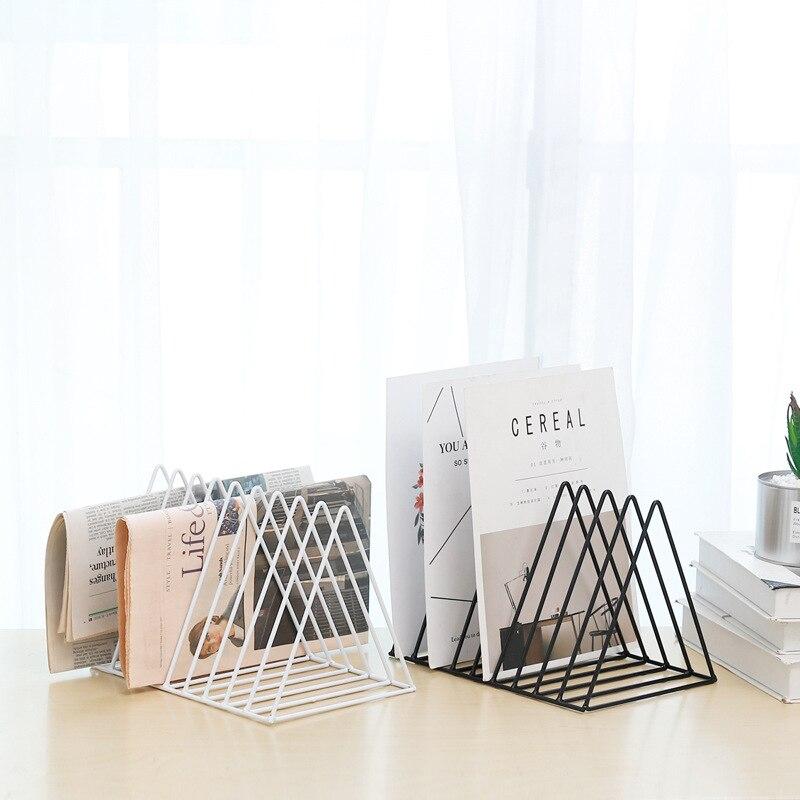 Shelf Office Home Stand Hollowed Out File Management Desktop Books Organizer Iron Grid Storage Rack Practical Holder Magazine