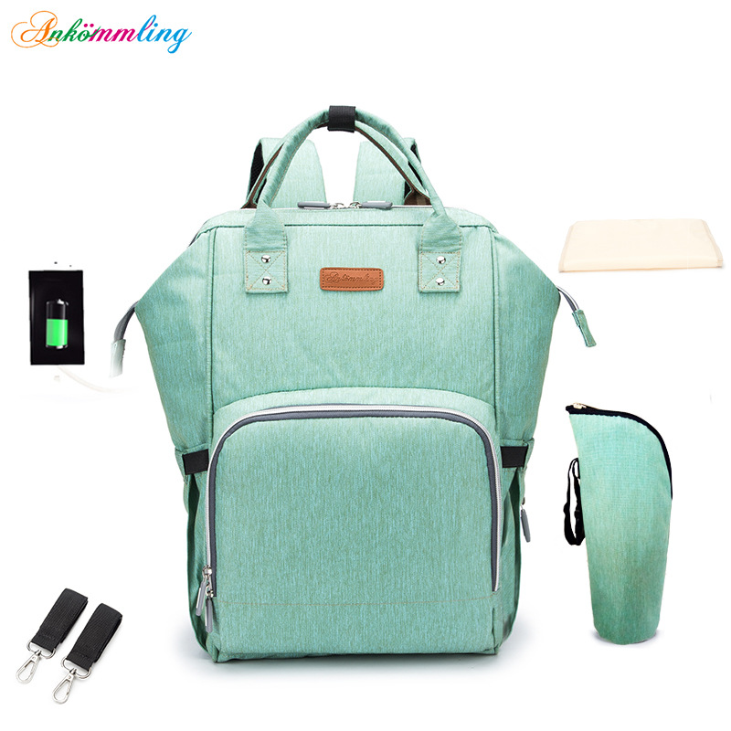 15 Colors USB Charging Ergonomic Diaper Bag Multi-function Stroller Bag Large Capacity Nappy Bag Waterproof Travel Backpack Baby