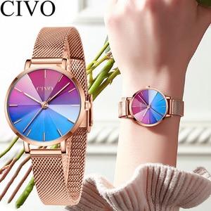 Image 1 - Ladies Watch CIVO 2020 New Listing Fashion Rainbow Watches Women Top Brand Luxury Waterproof Female Girl Gift Quartz Clock 8111