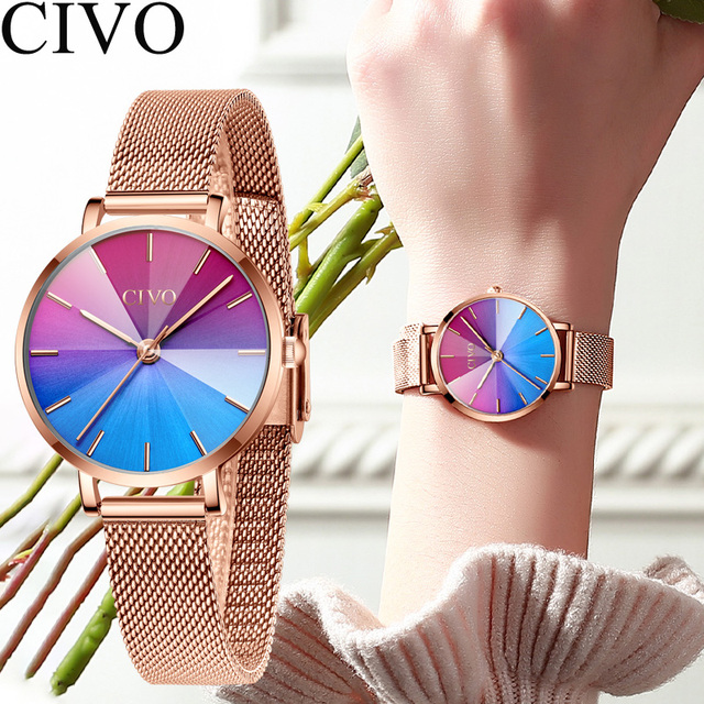 Ladies Watch CIVO 2020 New Listing Fashion Rainbow Watches Women Top Brand Luxury Waterproof Female Girl Gift Quartz Clock 8111