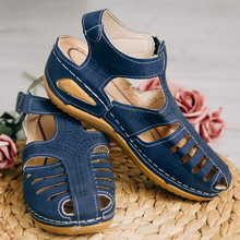 Sandalias de talla grande 41 42 43 de verano para mujer, de piel, estilo Retro