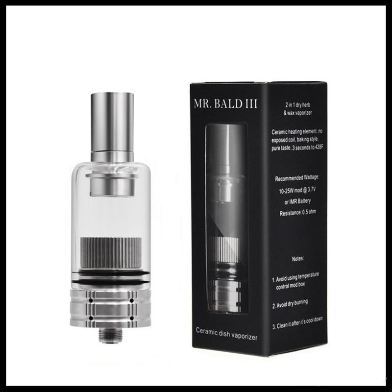 Longmada Wax Tank Mr Bald III 510 Thread Dry Herb Starter Kit Atomizer Replaceable Ceramic Heating Coil Chamber For Vape Pen Mod