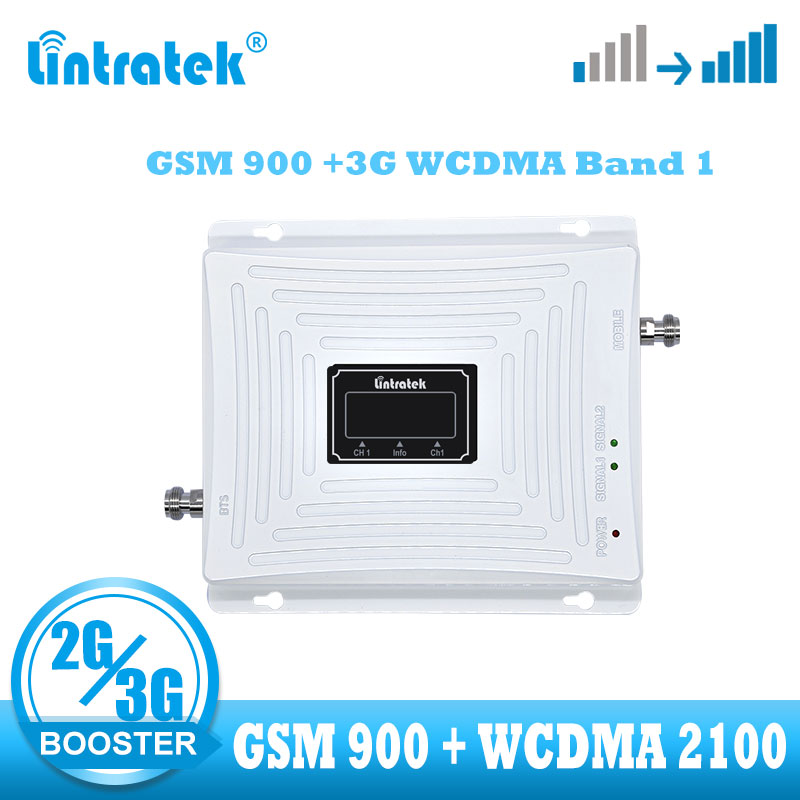 Lintratek 2G 3G Cellular Amplifier Repeater Gsm 900 Wcdma Umts 2100 Cellphone Signal Amplifier Booster Easy GSM 2g 3g Connetion