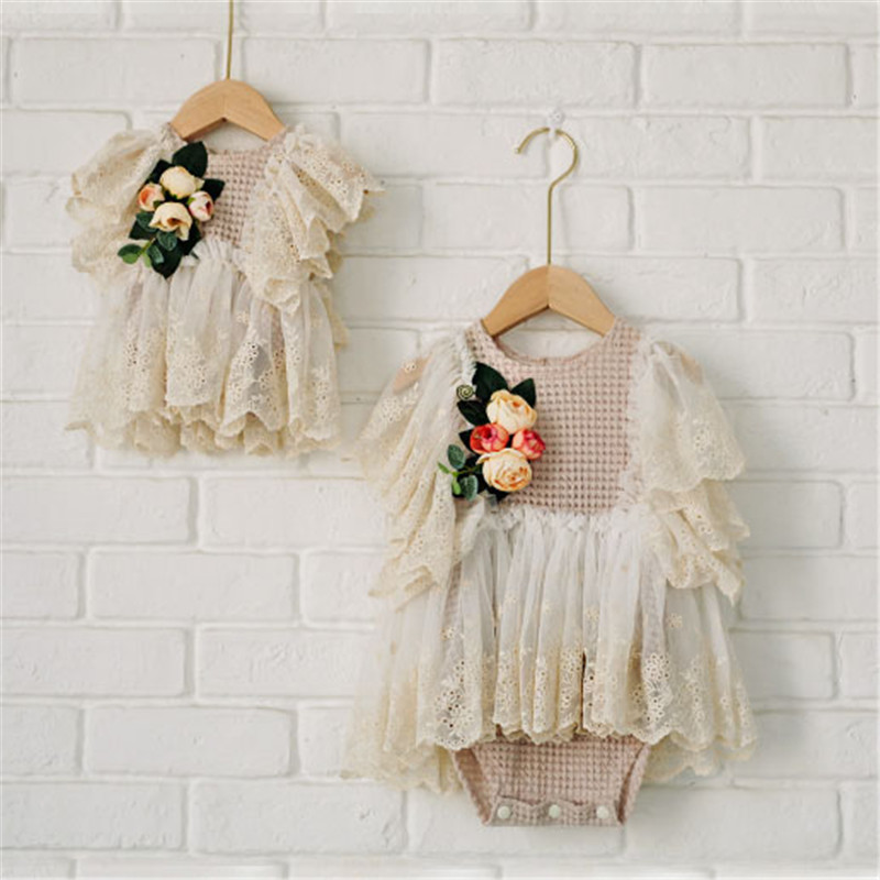 Vintage Baby Girls Lace Flower Dress Newborn Girl First Birthday Dresses Baby Photography Prop Studio Shooting Accessories