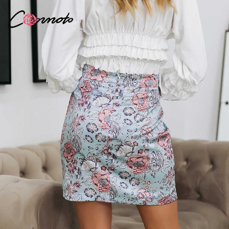 Conmoto boho verão 2020 cintura alta mini saias femininas sexy floral retro lápis saias com zíper azul feminino cetim fenda saias