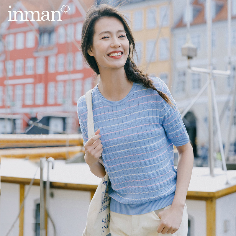 INMAN 2020 Spring New Arrival Literary Round Collar Colors Jacquard Weave Stripe Loose Pullover Short Sleeve KnitwearPullovers   -