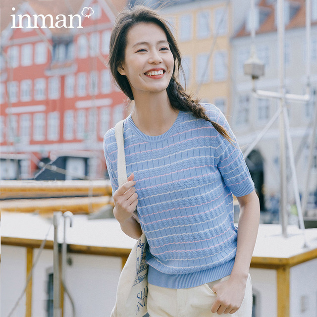 INMAN 2020 Spring New Arrival Literary Round Collar Colors Jacquard Weave Stripe Loose Pullover Short Sleeve Knitwear