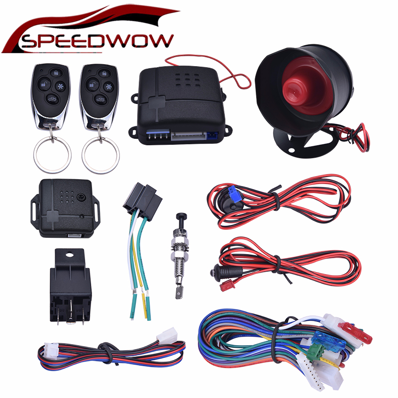 SPEEDWOW Universal One-Way Car Alarm Vehicle System Protection Security System Keyless Entry Siren 2 Remote Control Burglar
